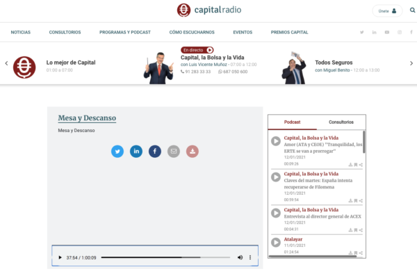 Entrevista Capital Radio, Mesa y Descanso a Trufbox