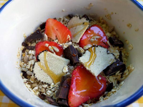 porridge de avena con trufa de verano